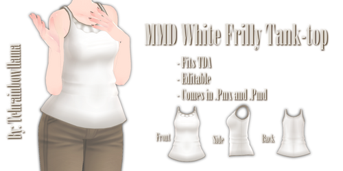 MMD-White Frilly Tank-top by Tehrainbowllama