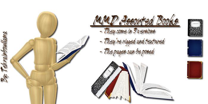 MMD Assorted Books by Tehrainbowllama