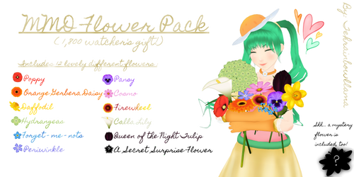 MMD Flower Pack (1,800 watchers special!) by Tehrainbowllama