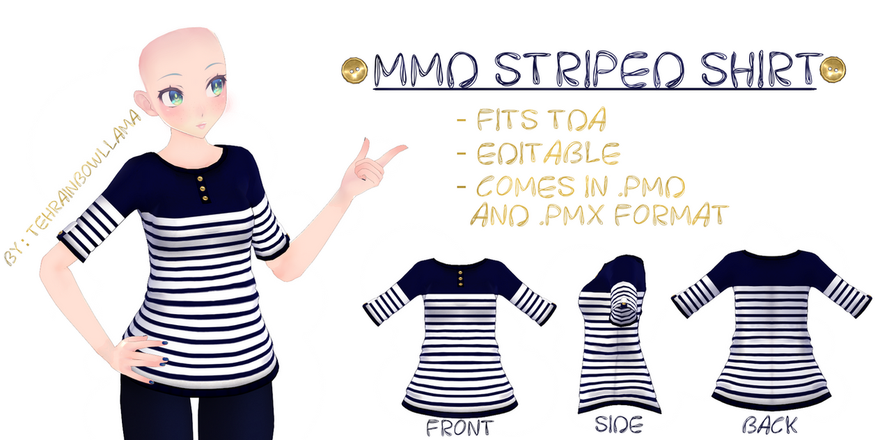 MMD Striped Shirt by Tehrainbowllama