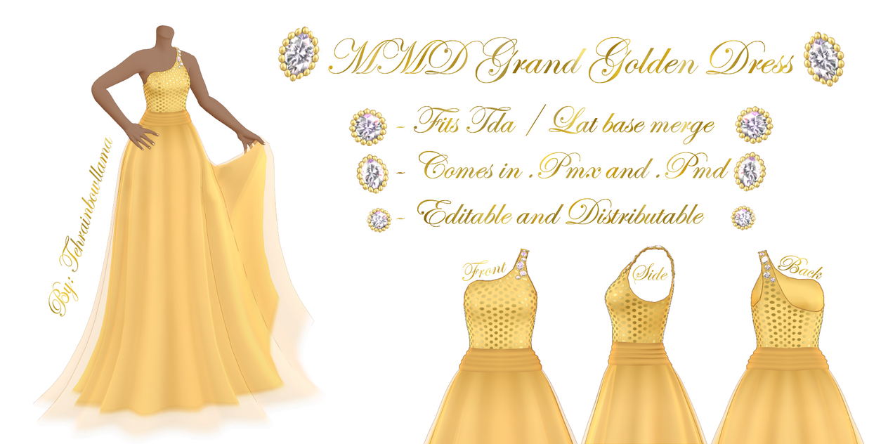 MMD Grand Golden Dress by Tehrainbowllama