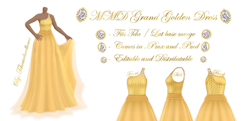 MMD Grand Golden Dress by Tehrainbowllama