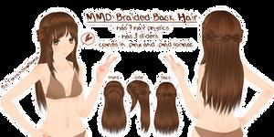 MMD Braided Back Hair by Tehrainbowllama