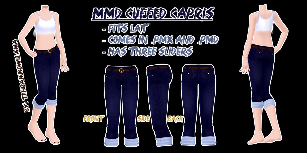 MMD Cuffed Capris by Tehrainbowllama