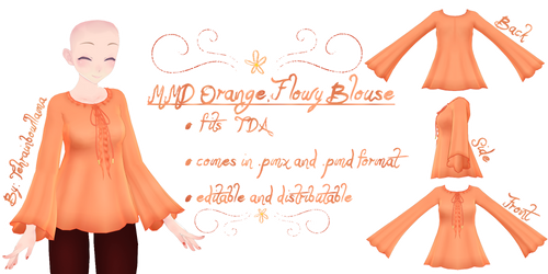 MMD Orange Flowy Blouse by Tehrainbowllama