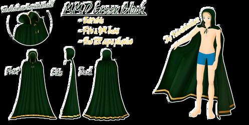 MMD Green Cloak by Tehrainbowllama