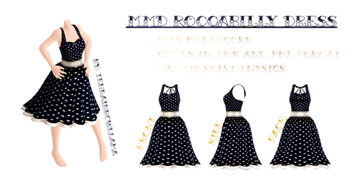 MMD Roccabilly Dress by Tehrainbowllama