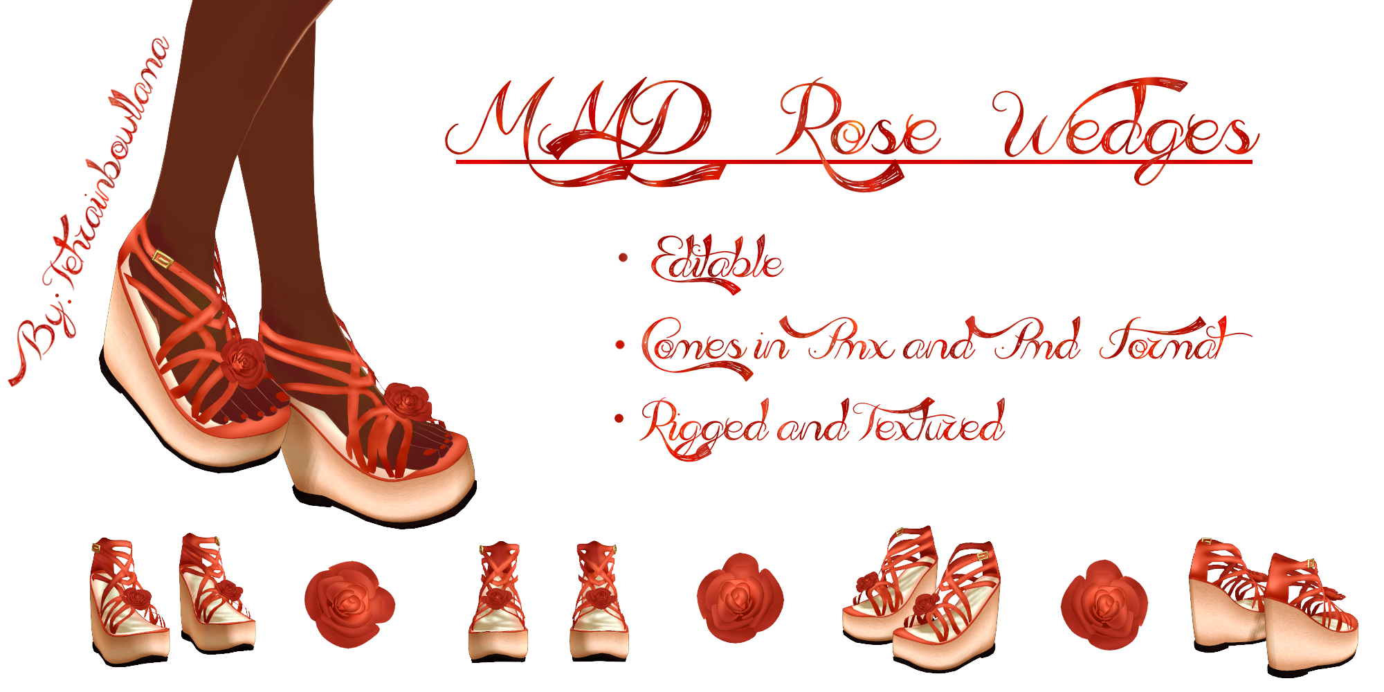 MMD Rose Wedges by Tehrainbowllama