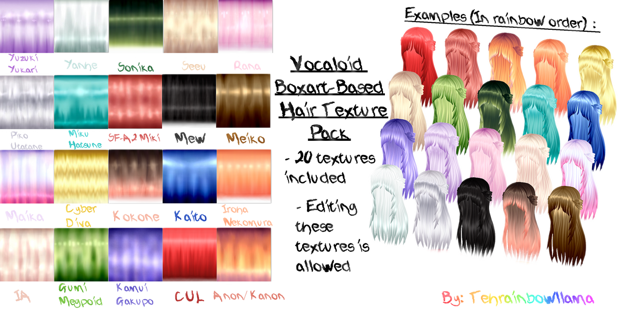 MMD Vocaloid Boxart-Based Hair Texture Pack by Tehrainbowllama
