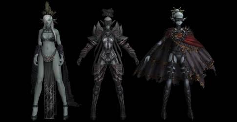 Dark elves pack - Lineage 2 (original bones) by papkapapka