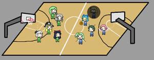 (Walfas background) Basketball court full