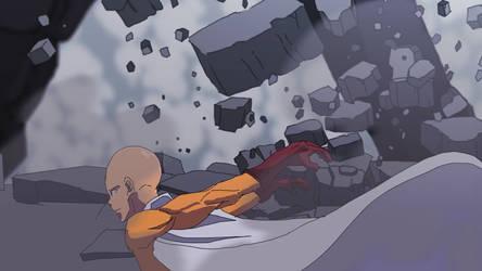 Saitama vs Subterranean by Miccool