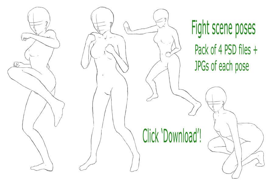 Pose Refs: Fight Scene 1 by AwsumZ