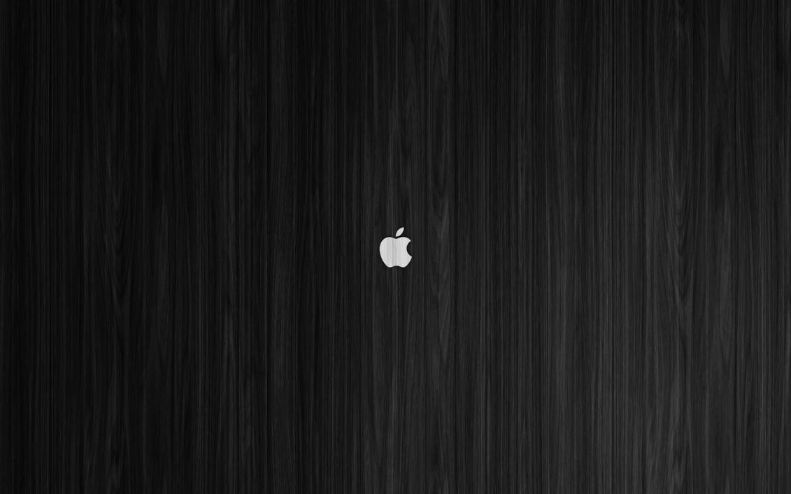 White Apple On Black Wood Mac Wallpaper By ZGraphx