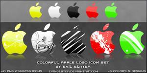 Colorful Apple Logo Icon Set
