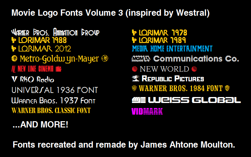 Movie Logo Fonts Volume 3 by JamesMoulton1988 on DeviantArt