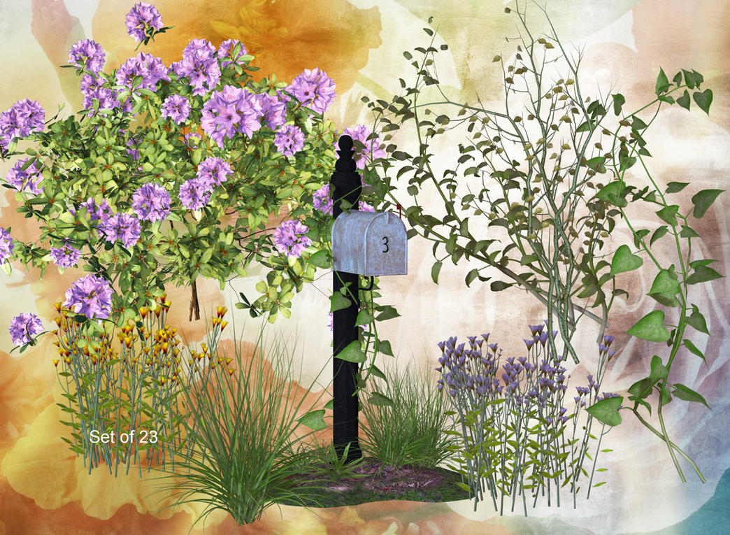 Cottage Plants and Flora by oldhippieart