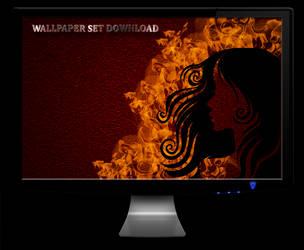 BURNING BEAUTY Wallpaper Set by jeshans