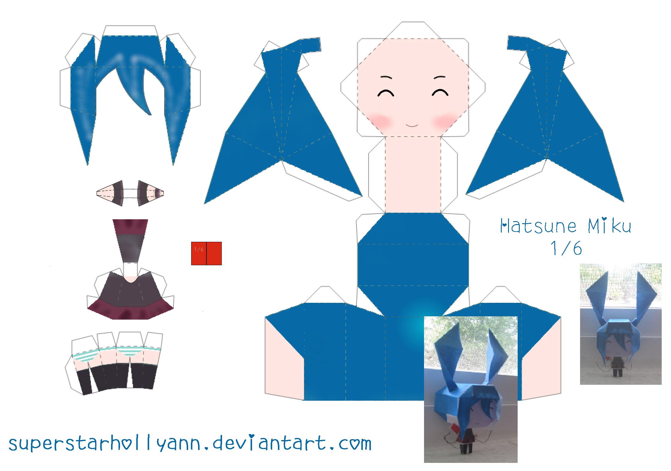 Chibi Miku 1-6 Papercraft by superstarhollyann