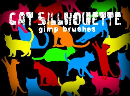 Cat Silhouette GIMP Brushes by annadigiovanni
