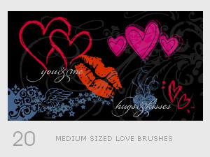 Medium Sized Love Brushes by diebutterfliege