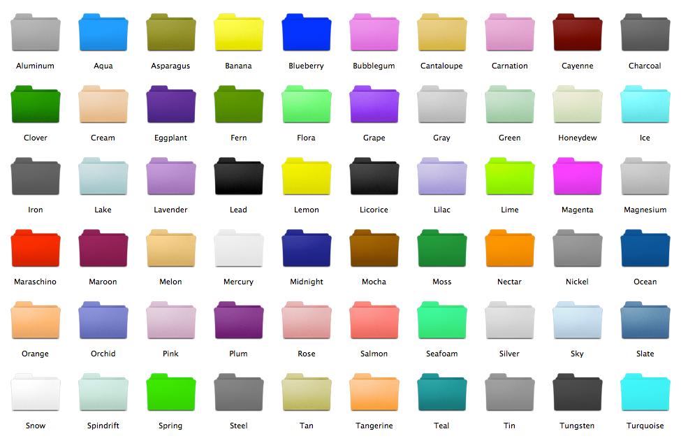 Snow Leopard Folder Colors by ekliptikz