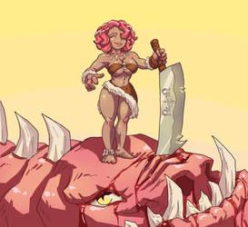 Wardrobe malfunction of a Dragon Huntress by BONESofBURIED
