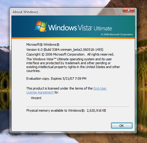 Vista Build 5384 About Windows by Fishy-Fish ...