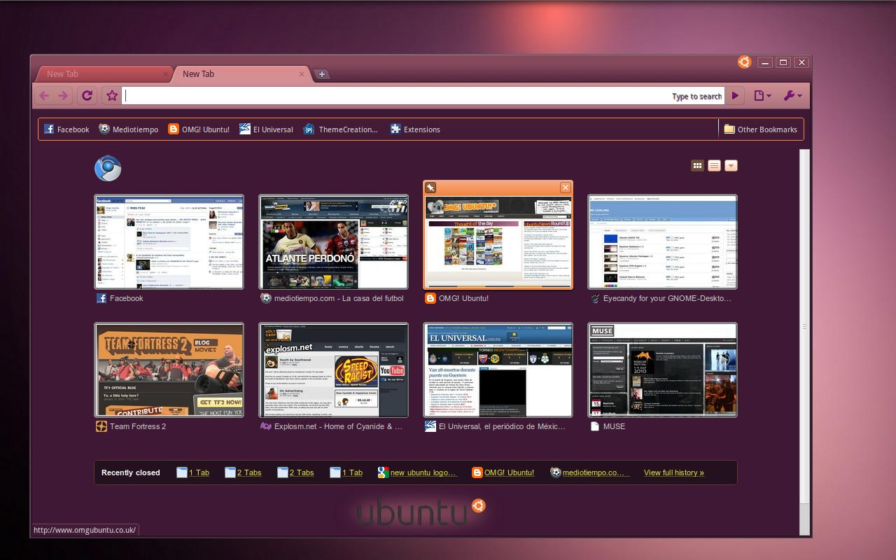New Ubuntu theme for Chrome by TooPredictable