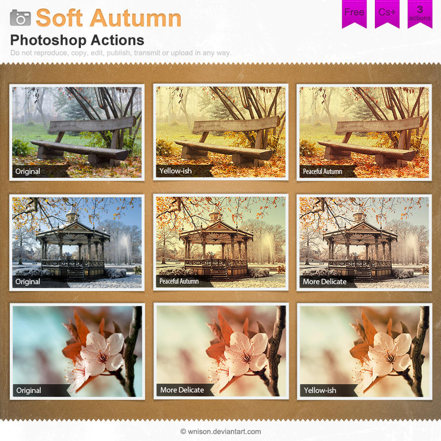 Soft Autumn Photoshop Actions by Wnison