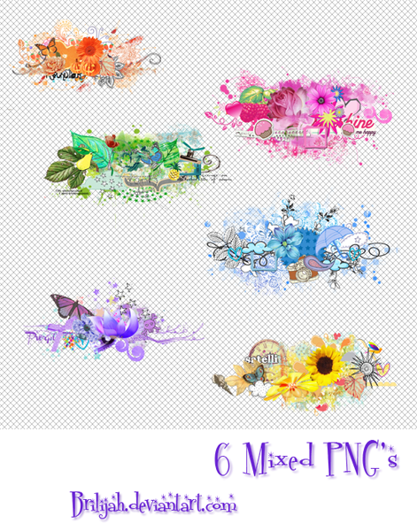 6 Mixed PNG's by Brilijah