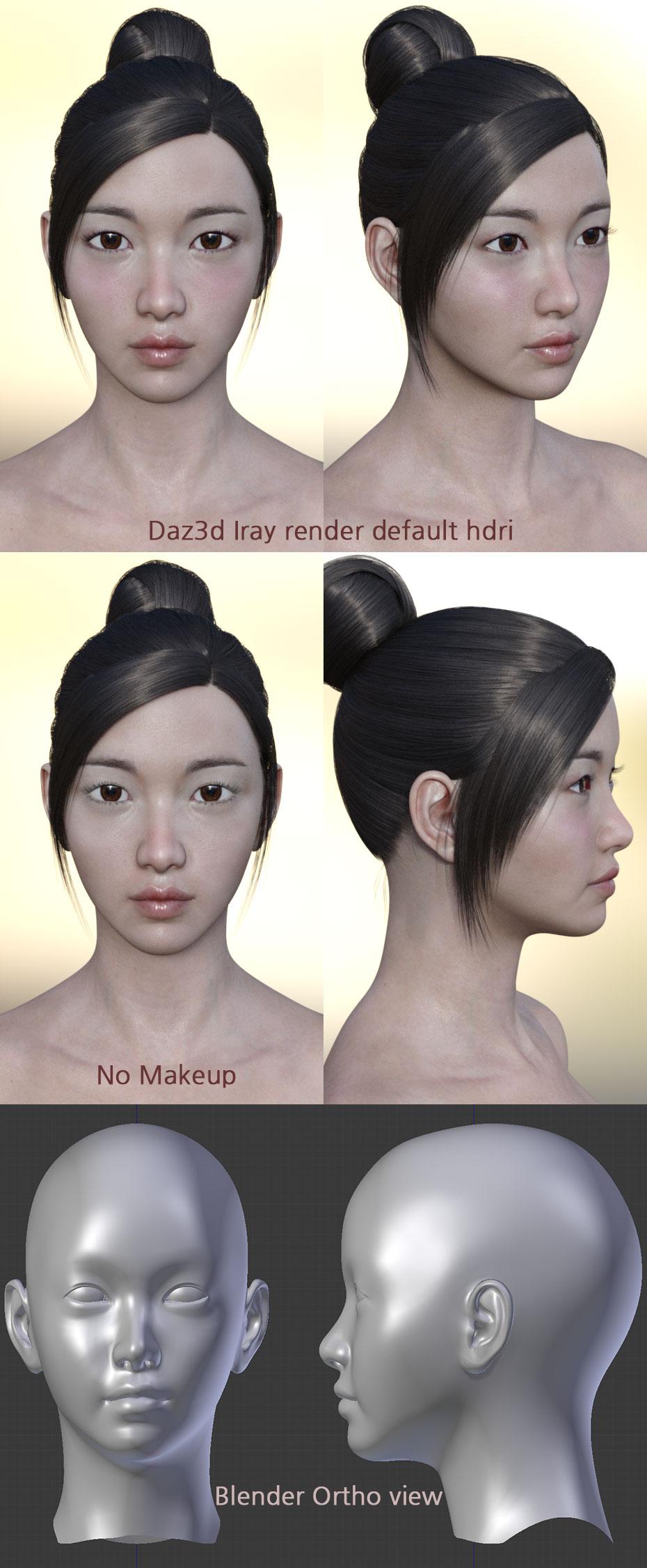 Freebie : Daz3d East Asian female face 1 by HerYun on DeviantArt