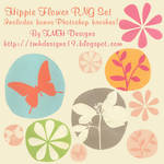 Hippie Flowers Photoshop Brush and PNG Set