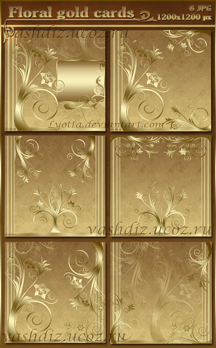 Floral  gold cards by Lyotta