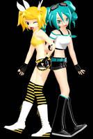 MMD - Summer Rin and Trainer Miku by YellowDesuCake