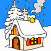 House in Winter Forest Coloring
