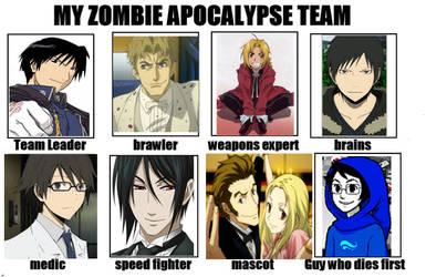 My Anime Zombie Apocalypse Team by thearabellablack