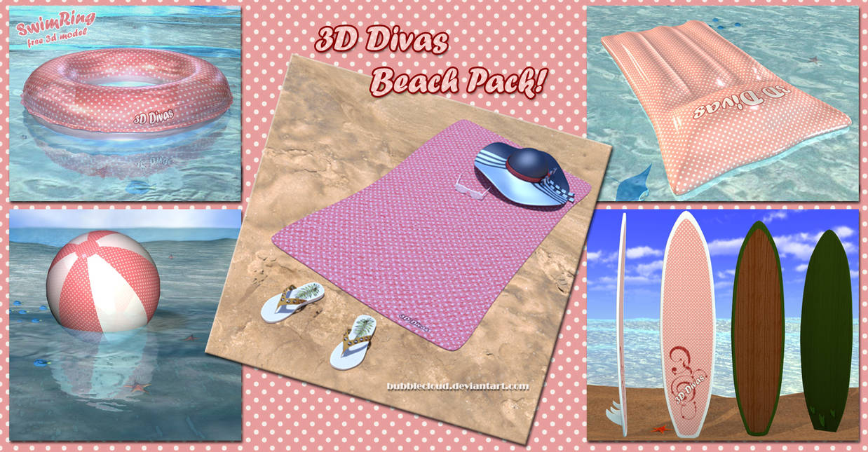 Beach Pack for DAZ Studio v2 - Free 3D Models by BubbleCloud on