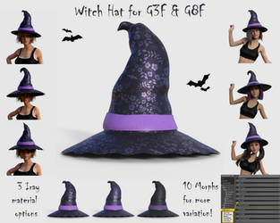 Witch Hat for G3F and G8F - Free 3D model by BubbleCloud