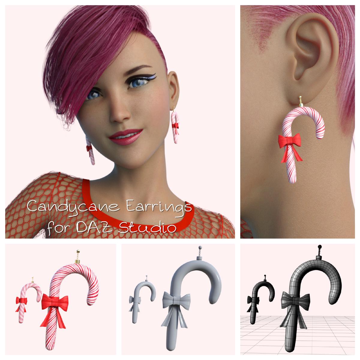 Candycane Earrings for DAZ Studio by BubbleCloud