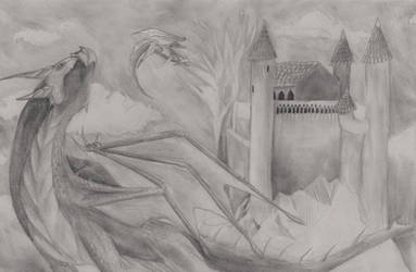 Castle Attacked By Dragons by hesterfunhart