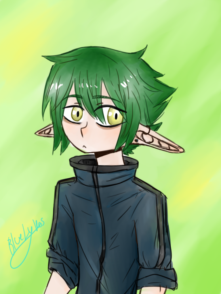 Green Haired Elf By Bluelykos On Deviantart