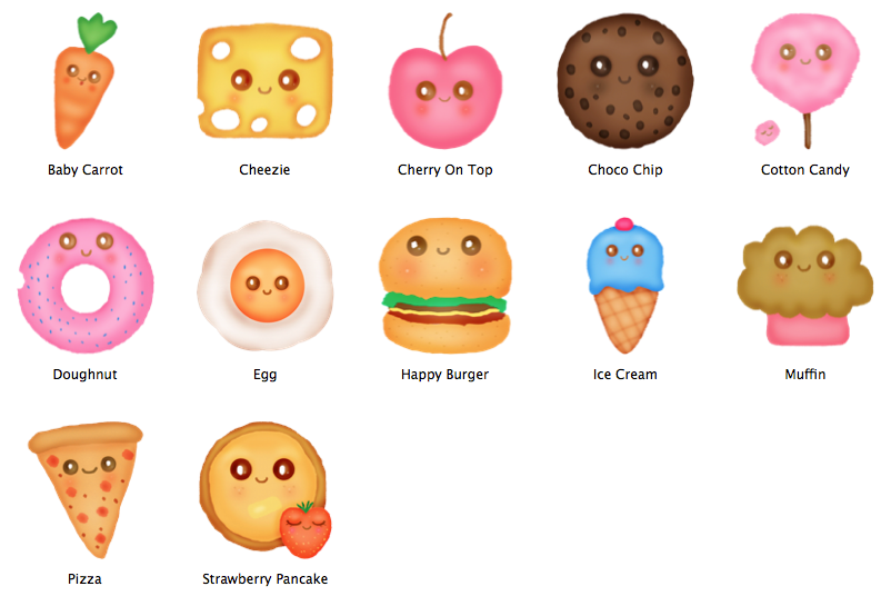 Happy Food Mac OS Icons By Bebesushii