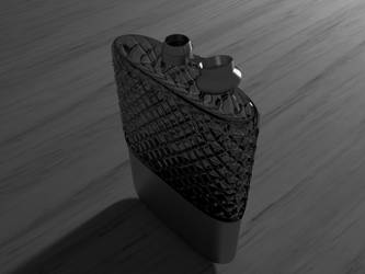 Noir, glass and silver hip flask by NoctumSolaris