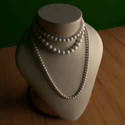 Pearl necklaces on a bust WIP