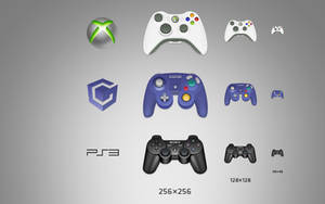 Xbox360 PS3  GameCube Gamepad Icons by wangbin99