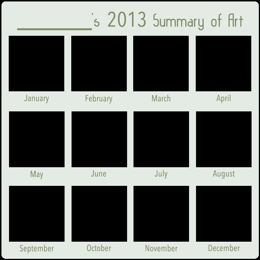 2013 Art Summary BLANK by DustBunnyThumper