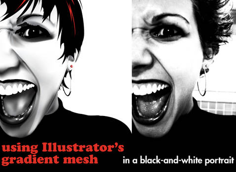Gradient Mesh Face, grayscale