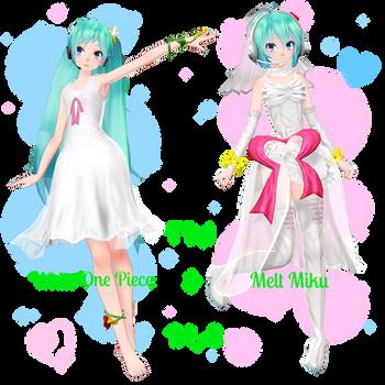 . : TDA White One Piece and Melt Miku dl : . by Sushi-Kittie