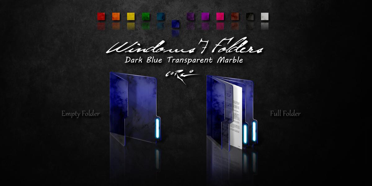 Dark Blue Windows 7 Folders by Drawder